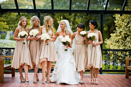 Infinity bridesmaid dresses with butterfly hems, by TheRadicalThreadCo on etsy.com