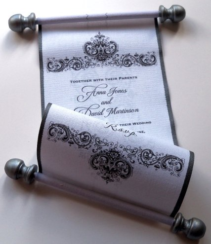 Invitation scroll, by ArtfulBeginnings on etsy.com