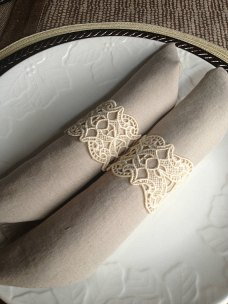 Lace napkin rings, by BlueDoveKnits on etsy.com