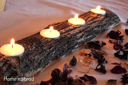 Log candle holder, by HomenStead on etsy.com
