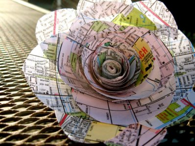 Map flower, by daintyhippo on etsy.com