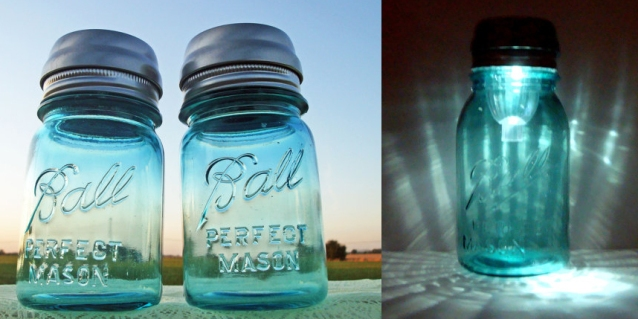 Mason jar solar lights, made by TheCountryBarrel on etsy