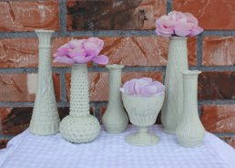 Milk glass vases, by TheSpeckledEgg2011 on etsy.com