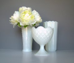 Milk glass wedding vases, by TwiningVines on etsy.com