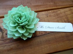 Mint flower placecards, by companyfortytwo on etsy.com