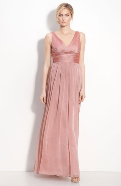 Monique Lhuillier Bridesmaids Sleeveless Ruched Chiffon Dress, from nordstrom.com