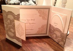 Mocha and pink lace invitations for Ashley Hebert (The Bachelorette) and JP Rosenbaum's wedding