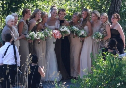 Molly Sims' bridesmaids wore Elizabeth Kennedy dresses in various neutral shades