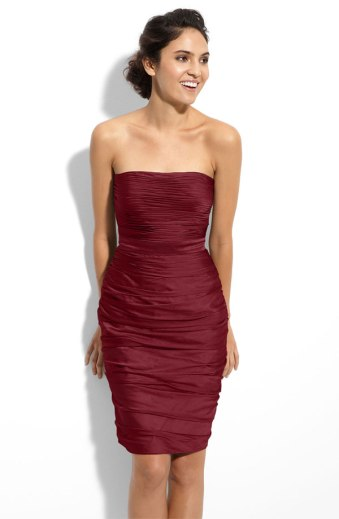Monique Lhuillier Bridesmaids Ruched Strapless Cationic Chiffon Dress, from nordstrom.com