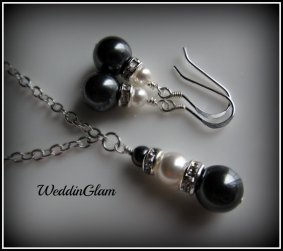 Necklace and earring set, by WeddinGlam on etsy.com