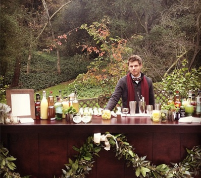 Outdoor bar at Cacee Cobb and Donald Faison's wedding