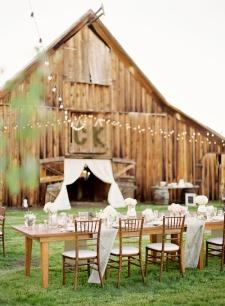 Outdoor rustic wedding reception