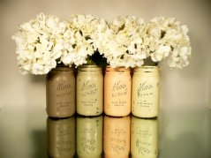 Painted mason jar vases, by BeachBlues on etsy.com