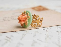 Peach and mint filigree ring, by redtruckdesigns on etsy.com