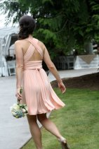 Peach infinity bridesmaid dress, by TheRadicalThreadCo on etsy.com