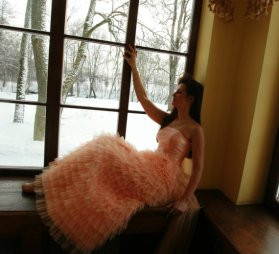 Peach wedding dress, by DGstyle on etsy.com
