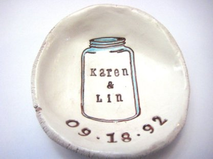 Personalised mason jar dish, by thebrickkiln on etsy.com