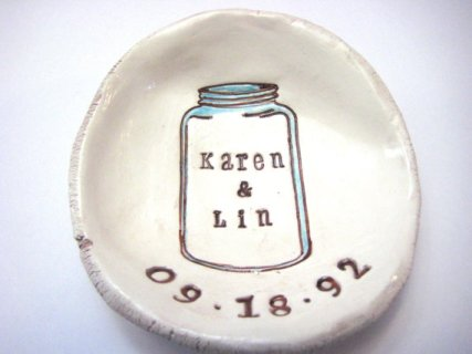 Personalised mason jar dish, by thebrickkiln on etsy.com