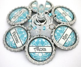 Personalised wine glass charms, by ConvertibleGirlShop on etsy.com