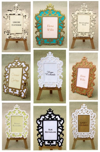 Picture frame placecards, by PostmansKnock on etsy.com