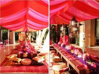 Red and pink wedding reception