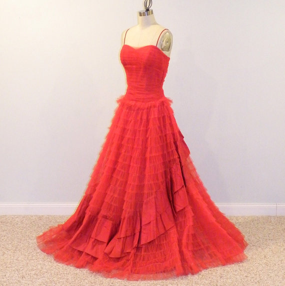 red tulle gown by daisyandstella on etsycom the merry