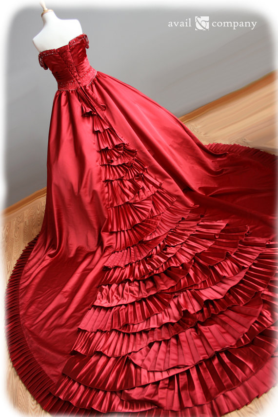 red wedding dress by availco on etsycom the merry bride
