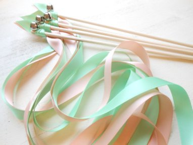 Ribbon wands (guests wave them as you walk back down the aisle after the ceremony), by HandmadeByHeather4U on etsy.com