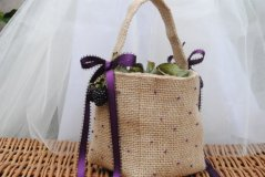 Rustic flower girl basket, by LulueFrufru on etsy.com