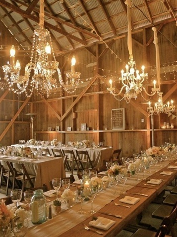 Rustic reception with a glamorous twist