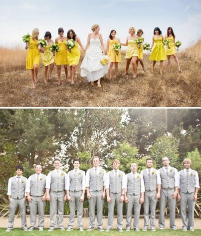 Rustic-themed wedding party in grey and yellow