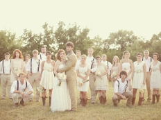 Rustic-themed wedding party