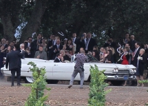 Seth Rogen and Lauren Miller left their ceremony in a classic convertable