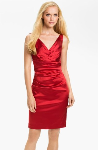 Suzi Chin for Maggy Boutique Double V-Neck Ruched Sheath Dress, from nordstrom.com