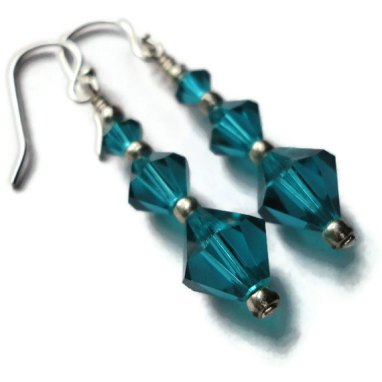 Swarovski crystal earrings, by JoannGirls on etsy.com