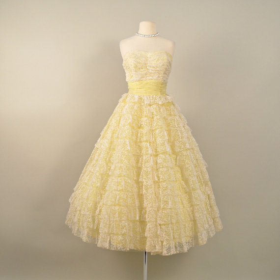 Vintage 1950s tea length wedding dress from deomas on for Etsy tea length wedding dress