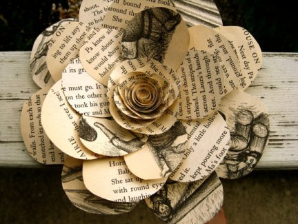 Vintage book flowers, by daintyhippo on etsy.com