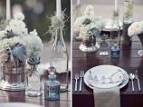 Vintage light blue and grey wedding reception