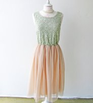 Vintage mint and peach dress, by ShopModernAntoinette on etsy.com