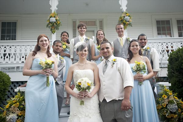 Wedding party in powder blue and grey   The Merry Bride