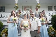 Wedding party in powder blue and grey