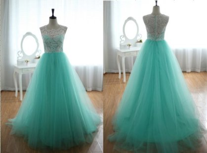 White lace and turquoise tulle wedding dress, by wonderxue on etsy.com