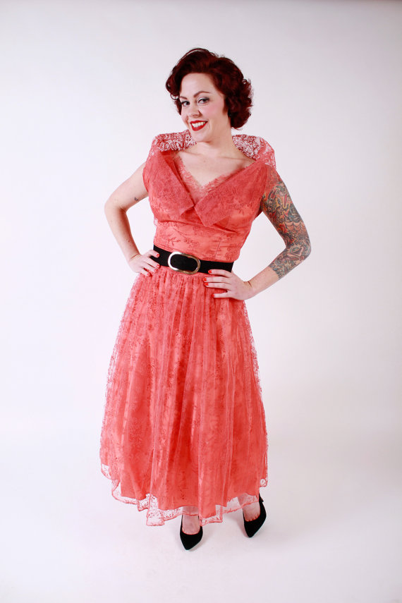 1950s red lace wedding dress by stutterinmama on etsycom