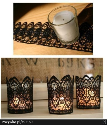 Add lace to votive candles for a beautiful effect