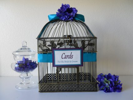 Birdcage wedding card holder, by LKWeddingBouquet on etsy.com