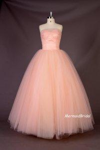 Blush-pink wedding dress, by MermaidBridal on etsy.com