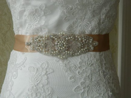 Bridal sash, by BridalSashByTania on etsy.com