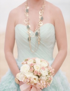 Bride in a mint-green wedding dress