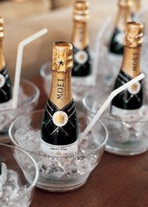 Bridesmaid idea - Champagne glass and a mini bottle of champagne with a straw