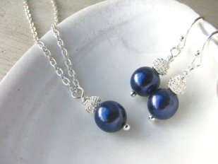 Bridesmaid necklace and earring set, by BostonSeaglass on etsy.com